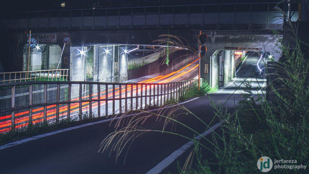 Long exposure shot of a tunnel near Sendai Higashi area.